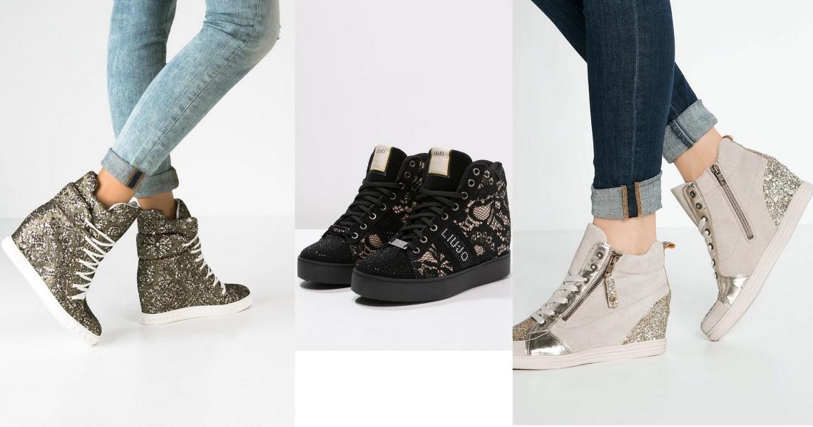niebanalny design sneakersy na koturnie