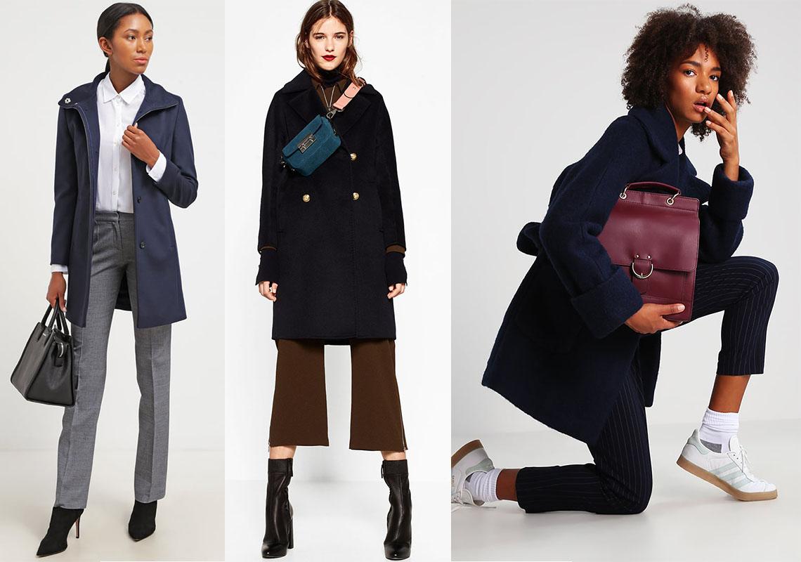 Granatowe płaszcze w rożnych stylizacjach (fot. Zalando i Zara)