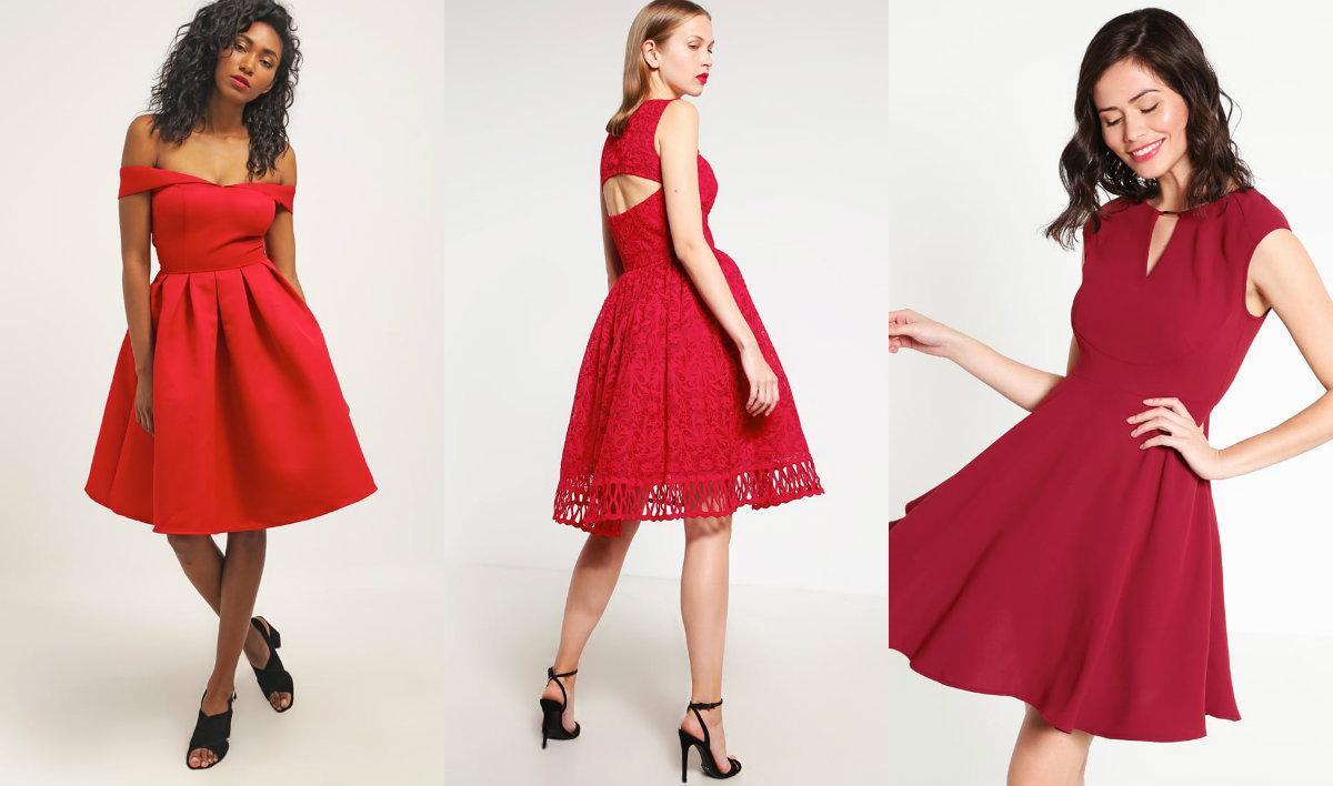 Rozkloszowane czerwone sukienki, od lewej: Chi Chi London (dwie) i Anna Field (fot. zalando.pl)