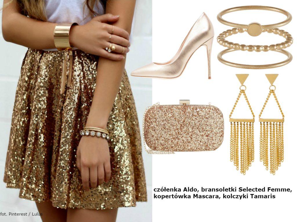 złote dodatki do sukienki na sylwestra