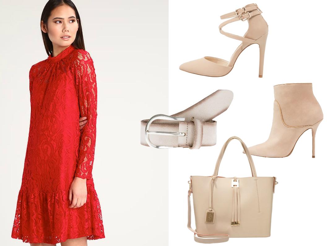 beżowe dodatki do czerwonej sukienki