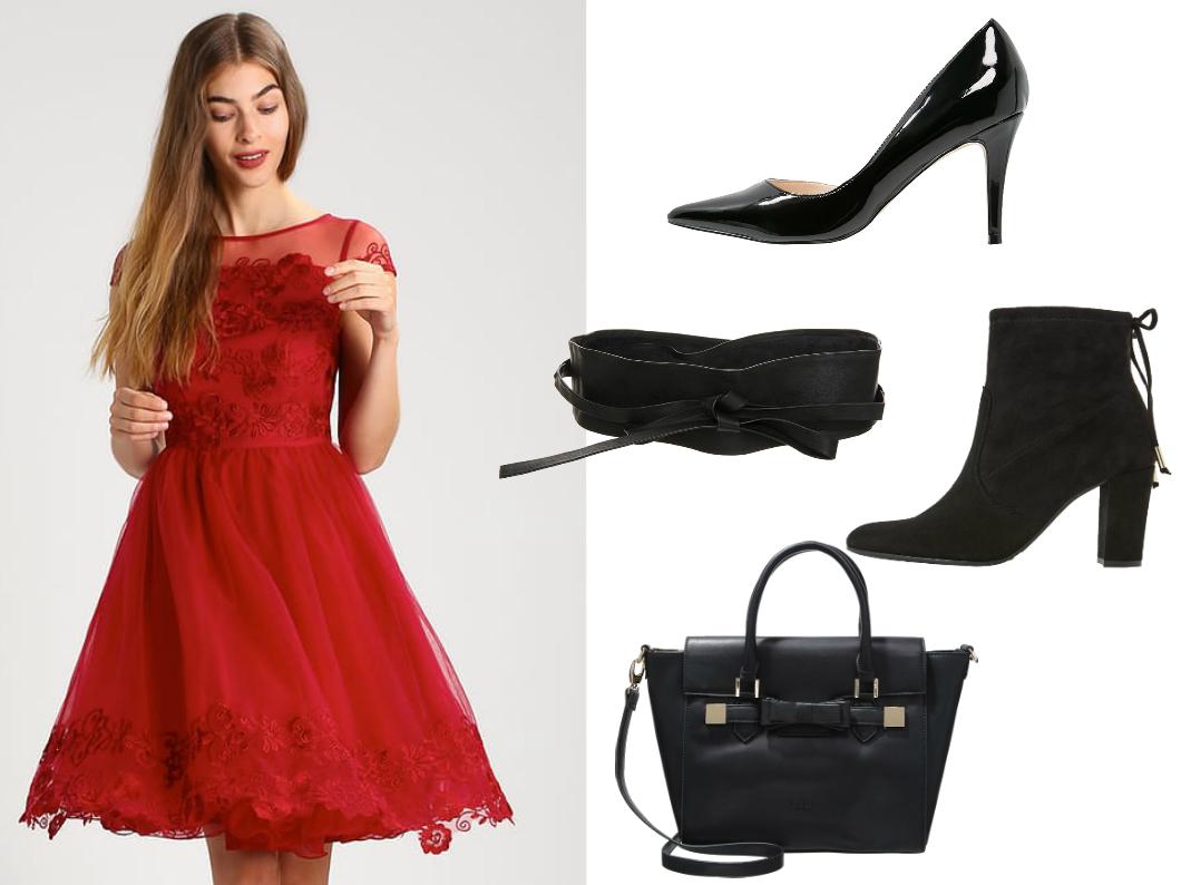 czarne dodatki do czerwonej sukienki