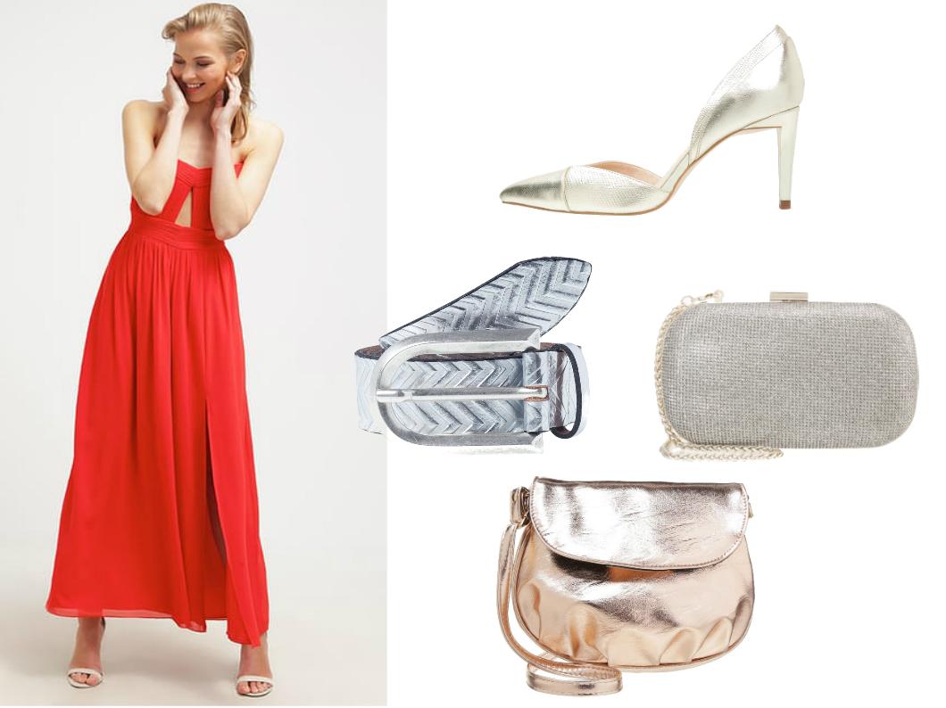 złote i srebrne dodatki do czerwonej sukienki