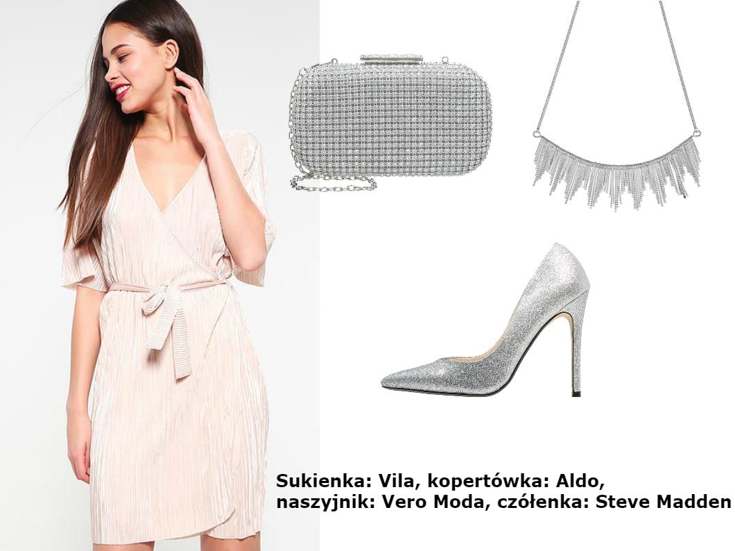sukienka pudrowy róż jakie buty i dodatki srebrne