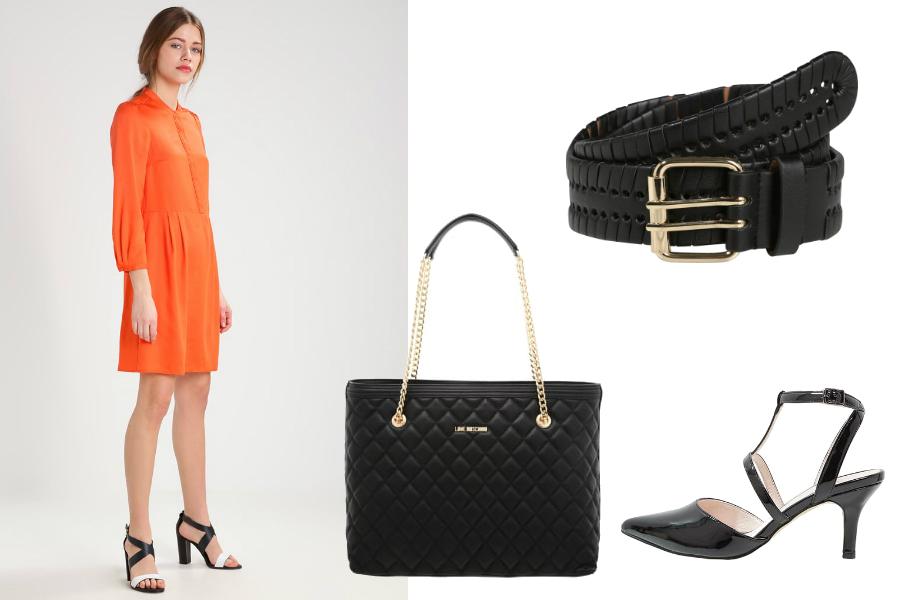 pomarańczowa sukienka i czerń