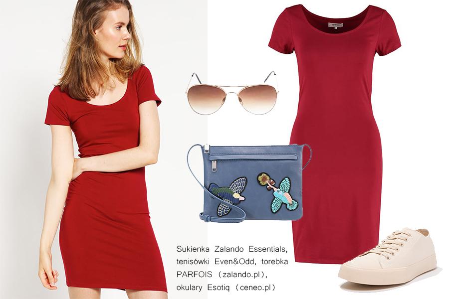 Czerwona sukienka stylizacje do 200 zł (kolaż redakcja, materiały zalando, ceneo)