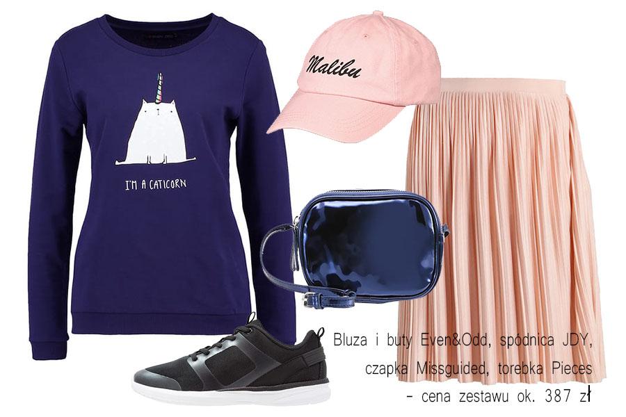 Stylizacje: buty sportowe i bluza z nadrukiem (kolaż redakcja, fot. zalando.pl)