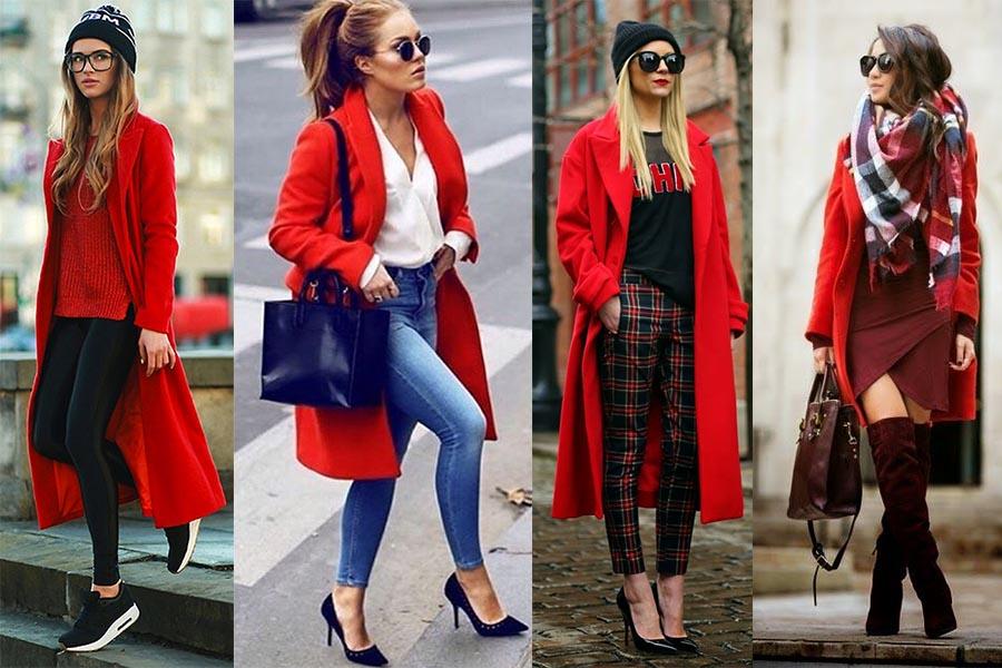 Z czym nosić płaszcz czerwony? Stylizacje (kolaż redakcja, fot. aysestyles.blogspot.com.tr, Mariana Flores, lolobu.com, stylingon.com)