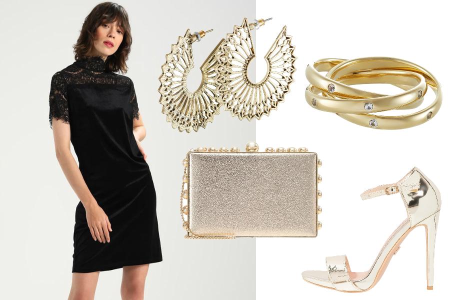 jak ożywić czarną sukienkę złote dodatki