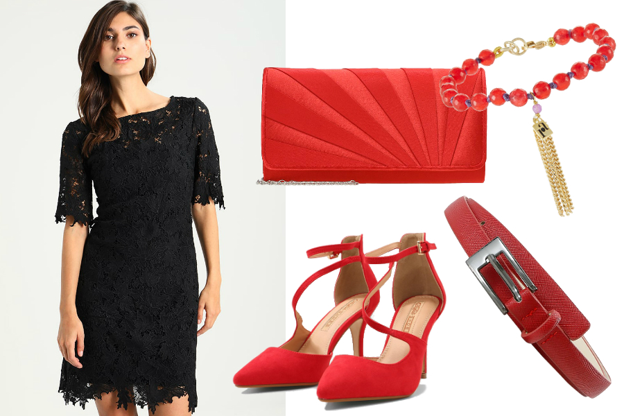 jak ożywić czarną sukienkę czerwony