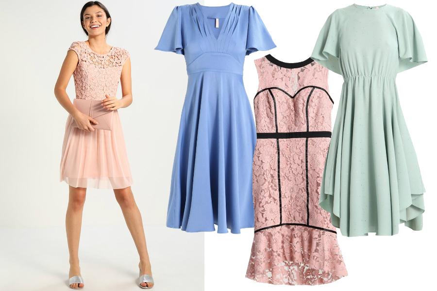 sukienki na chrzest dla chrzestnej pastele