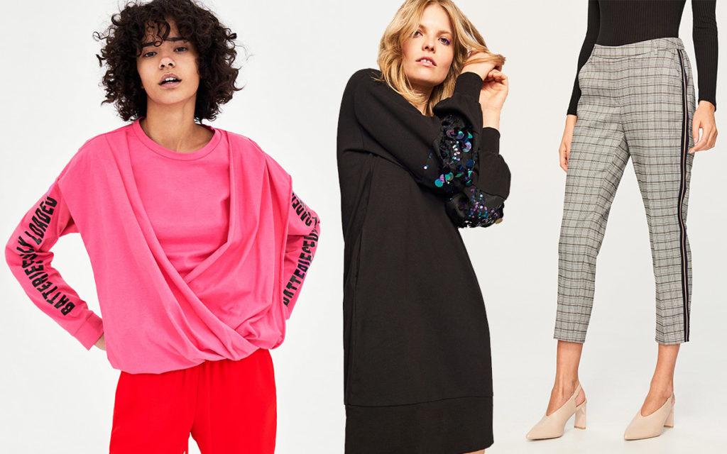 Modne ubrania do 100 zł, od lewej: neonowa bluzka z drapowaniem Zara (19,99zł!), sukienka z cekinami i spodnie w kratę Reserved (każde po 99,99zł)