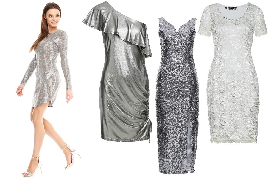 srebrna sukienka wieczorowa