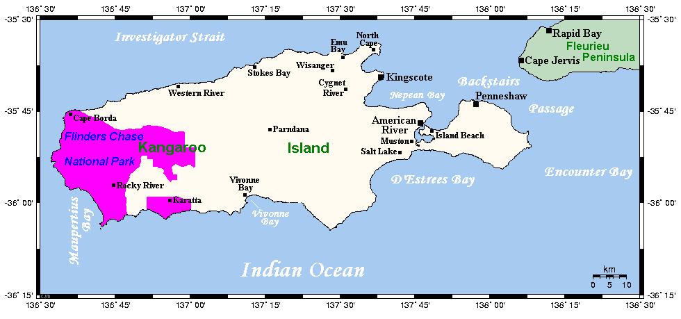Kangaroo Island mapa