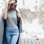 Jeansy damskie [stylizacje z body, białą koszulą i szpilkami]