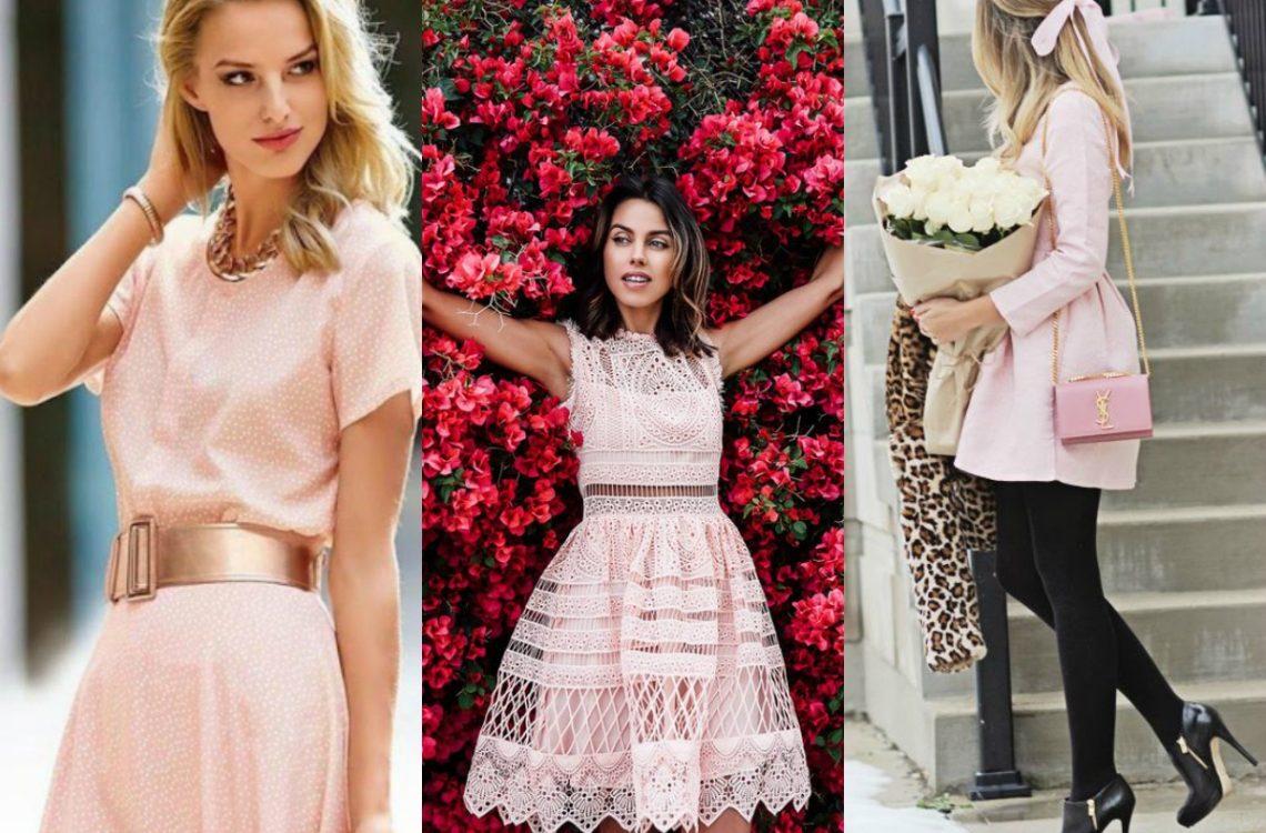 Kolor paznokci do sukienki pudrowy róż